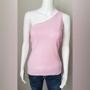 BOGO Express vintage pink one shoulder shiny top